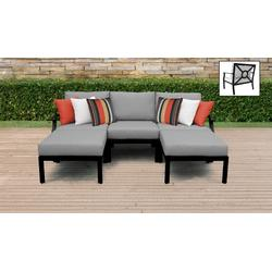 kathy ireland Homes & Gardens Madison Ave. 5 Piece Outdoor Aluminum Patio Furniture Set 05e in Slate - TK Classics Madison-05E-Grey