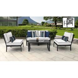 kathy ireland Homes & Gardens Madison Ave. 5 Piece Outdoor Aluminum Patio Furniture Set 05d in Snow - TK Classics Madison-05D