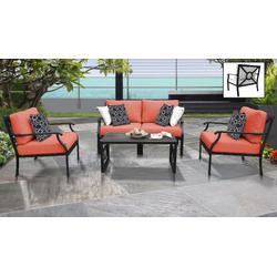 kathy ireland Homes & Gardens Madison Ave. 5 Piece Outdoor Aluminum Patio Furniture Set 05c in Persimmon - TK Classics Madison-05C-Tangerine