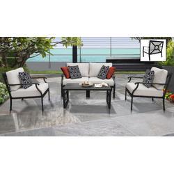 kathy ireland Homes & Gardens Madison Ave. 5 Piece Outdoor Aluminum Patio Furniture Set 05c in Almond - TK Classics Madison-05C-Beige
