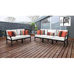 kathy ireland Homes & Gardens Madison Ave. 5 Piece Outdoor Aluminum Patio Furniture Set 05a in Snow - TK Classics Madison-05A