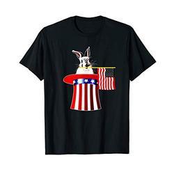 4th of July Shirt Rabbit Fun American Flag Uncle Sam Hat T-Shirt