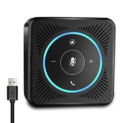 USB Speakerphone - eMeet M0 Conference Speaker for 4 People Business Conference 360° Voice Pickup 4 AI Microphones USB Skype Speakerphone Conference Call Speaker Plug and Play