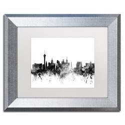Trademark Fine Art 'Las Vegas Nevada Skyline B&W' Framed Graphic Art Print on CanvasCanvas & Fabric in Brown, Size 11.0 H x 14.0 W x 0.5 D in