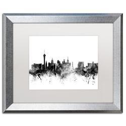 Trademark Fine Art 'Las Vegas Nevada Skyline B&W' Framed Graphic Art Print on CanvasCanvas & Fabric in Brown, Size 16.0 H x 20.0 W x 0.5 D in