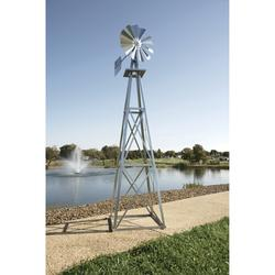 Outdoor Water Solutions Ornamental Garden Windmill - 11ft.6Inch H, Galvanized Finish, Model BYW0003