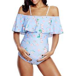 Century Star Women's Maternity One Piece Swimsuits Off The Shoulder Swimwear Summer Pregnancy Beachwear Purple 6-8