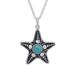 Infinity Silver Silver Sterling Silver Enhanced Turquoise Cabochon Starfish Pendant with Cubic Zirconia Accents