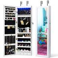 Titan Mall LED Jewelry Armoire With Mirror Wall Mounted Jewelry Organizer With 6 LEDs Jewelry Cabinet Jewelry Organizer with Mirror Lockable Wall Door Mounted Jewelry Cabinet Organizer