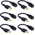 Tip Adapter Connector Converter Cable 8.0mm to Slim Square USB Tip for Lenovo Thinkpad Yoga Ideapad 0b47046 0b47048 ADLX45NCC2A ADLX45NLC2A Dongle for Laptop AC Charger Power Supply (6PACK)