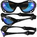 Birdz Seahawk Padded Floating Polarized Sunglasses with Built in Strap Black Frame and Polarized ReflecTech Blue Mirror Lens