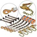VULCAN 8-Point Roll Back Vehicle Tie Down Kit with Snap Hook On Strap Ends and Chain Tail On Ratchet Ends, Set of 4 - Silver Series