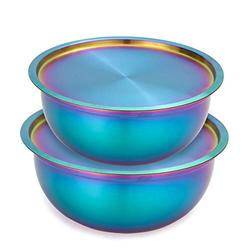 OMGard Mixing Bowl Set of 2 with Lid Rainbow 18/10 Stainless Steel Salad Bowl for Kitchen Cooking, Baking, Food Prep, Nesting Bowls with Lid for Fridge Storage Metal 2.6, 3.2 Liter Dishwasher Safe