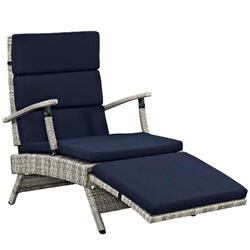 Envisage Chaise Outdoor Patio Wicker Rattan Lounge Chair in Light Gray Navy - East End Imports EEI-2301-LGR-NAV