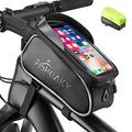 FISHOAKY Bike Front Frame Bags, Waterproof Bicycle Phone Mount Bag, Sensitive Touch Screen Sun Visor Large Capacity Top Tube Bike Bag Fits for iPhone 12 Pro 11 X Xs Max 8 Plus Below 6.5""