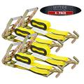 """Mytee Products Ratchet Tie-Down Straps with Wire Hook, 2"""" x 30' Yellow Ratchet Strap   10,000 Lbs Breaking Strength   Heavy Duty TieDown Ratchet Straps for Flatbed, Truck, Trailers Pickup (4 Pack)"""