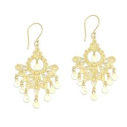 Gold plated sterling silver chandelier earrings, 'Gold Peacock Feather'