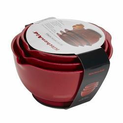 KitchenAid 3 Piece Plastic Mixing Bowl Set - KE175Plastic in Brown/Gray/Red | Wayfair KE175OSERA