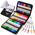 ZSCM Coloring Brush Pens Markers Set, 60 Colors Dual Tips Fine Tip Markers Set with Coloring Book, Gifts for Mother, for Kids Drawing, Adult Coloring Books, Sketching Bullet Journal Planner