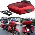 Moto Onfire Wicked Red Denim, Razor Tour Pack, Black Quick Release Mounting Rack For Harley Touring, Road Glide, Street Glide, Road Glide Special, 2019