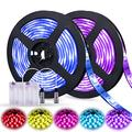 Led Strip Lights Battery Powered,QM-STVR Led Lights 2M/6.56FT,Strip Lights Battery Operated 3 Keys Color Changing Led Lights Strip RGB Waterproof Cuttable DIY TV Strip Light Color Changing(2Pcs)