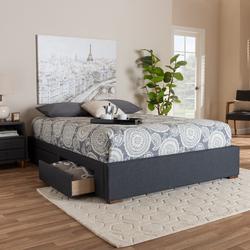 Baxton Studio Leni Modern & Contemporary Dark Grey Fabric Upholstered 4-Drawer King Size Platform Storage Bed Frame - CF9045-Dark Grey-King