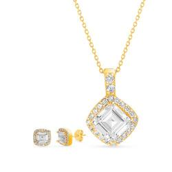 Belk Silverworks Gold Gold Tone Over Sterling Silver Cubic Zirconia Square Cushion Necklace and Earring Set