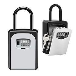 Key Lock Box Wall Mounted, Portable Lock Box for House Key, 5 Key Capacity, Weatherproof Resettable Code House Key Safe Security Lock Box for Outside Realtors Garage Spare (1 Pack)