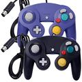 ONE250 2 Pack Classic Shock Joypad Wired Controller, Compatible with Wii NGC Gamecube Game Cube (Black & Purple)