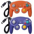 ONE250 2 Pack Classic Shock Joypad Wired Controller, Compatible with Wii NGC Gamecube Game Cube (Purple & Orange)