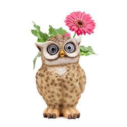 Blazin Owl Planter   Owl Succulent Pots Solar Patio Decor   LED Garden Decorations Figurines for Yard, Kitchen, Window or Deck   Great Women's Gift   Auto On/Off (Tan)