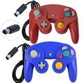 ONE250 2 Pack Classic Shock Joypad Wired Controller, Compatible with Wii NGC Gamecube Game Cube (Red & Blue)