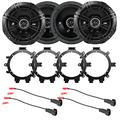 """4X Kicker 6.5"""" 240 Watt 2-Way 4-Ohm Car Audio Coaxial Speakers with Enrock Speaker Mounting Brackets and Wire Harness Compatible with Select 1996-2009 GM Full Size SUV Car Vehicles"""