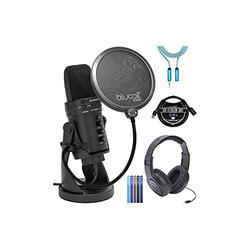 Samson G-Track Pro USB Microphone with Audio Interface Bundle with SR350 Headphones, Blucoil Pop Filter Windscreen, 3-FT USB 2.0 Type-A Extension Cable, 6' 3.5mm Extension Cable, and 5X Cable Ties