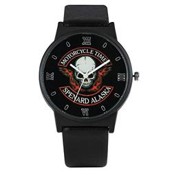 Fashion Black Leather Men Quartz Watch Classic Skull Pattern Dial Watches Exquisite Quartz Analog Wristwatch for Boy Men