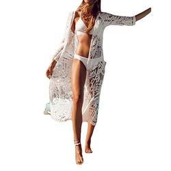Bsubseach White Mesh Swimsuit Cover Ups for Women Bikini Swimsuit 3/4 Sleeve Kimono Cardigan Swimwear