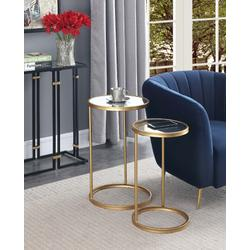 Gold Coast Mirrored Nesting End Tables in Mirror/Gold - Convenience Concepts 413555MRG