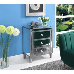 Gold Coast Large 3 Drawer Mirrored End Table in Antique Silver/Mirror - Convenience Concepts 413859AS
