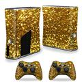 MightySkins Skin Compatible with Xbox 360 S Slim + 2 Controllers Case wrap Cover Sticker Skins Gold Glitter