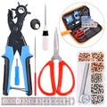 Swpeet 8Pcs Leather Hole Punch Plier with Grommet Eyelets Kit, Professional Puncher including Punch Plier Screwdriver, Scissors, Rule, Awl Tool and Grinding Rod Multi Sized Puncher for Belts, Crafts