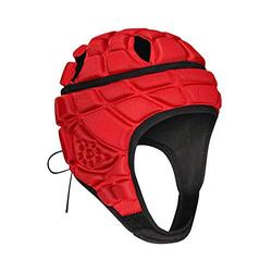 TUOYR Rugby Headgear 7 on 7 Soft Shell Padded Helmet Flag Football Headguard Adjustable Head Protector Training Lacrosse Soccer Goalkeeper Paintball Head Protection Fits (RED, Youth YM(51cm/20)