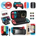 Switch Accessories Bundle, Kit with Carrying Case, Protective Case with Screen Protector, Compact Playstand,Game Case, Joystick Cap, Charging Dock, Grip and Steering Wheel for Nintendo Switch(10-in-1)
