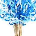 40 Pieces Mix Color Ribbon Wands Sticks with Bell Fairy Stick Party Streamers for Wedding Party (Blue)