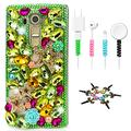 STENES Bling Case Compatible with LG V40 ThinQ - Stylish - 3D Handmade Sparkle Series Stars Rose Flowers Design Cover with Cable Protector [4 Pack] - Green