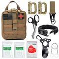 Tianers Survival Gear Kit 11 in 1 Molle Pouch EDC Survival Bag, Tactical Compact Water-Resistant EDC Pouch 1000D Nylon (Coyote B)