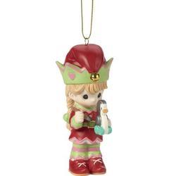 Precious Moments Paint Your Christmas w/ Love 4th Annual Elf w/ Toy Penguin Bisque Porcelain Christmas Hanging Figurine Ornament Ceramic/Porcelain