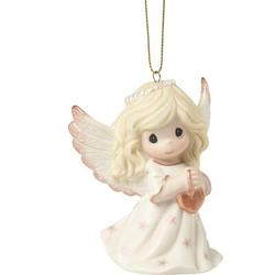 Precious Moments Rejoice in the Wonders of His Love 9th Annual Angel w/ Heart Bisque Porcelain Christmas Hanging Figurine Ornament Ceramic/Porcelain
