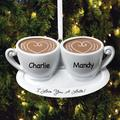 Red Barrel Studio® I Love You a Latte Holiday Shaped OrnamentPlastic in Black/Brown, Size 2.0 H x 3.5 W x 0.5 D in | Wayfair