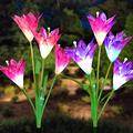Doingart Outdoor Solar Garden Lights - 2 Pack Solar Powered Lights with 8 Lily Flower, Multi-Color Changing LED Solar Decorative Lights for Gard