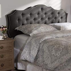 "Baxton Studio Aurora Modern and Contemporary Dark Grey Fabric Queen Size Headboard/Queen/Contemporary/Grey/Fabric Polyester 100%""/LVL/Foam"
